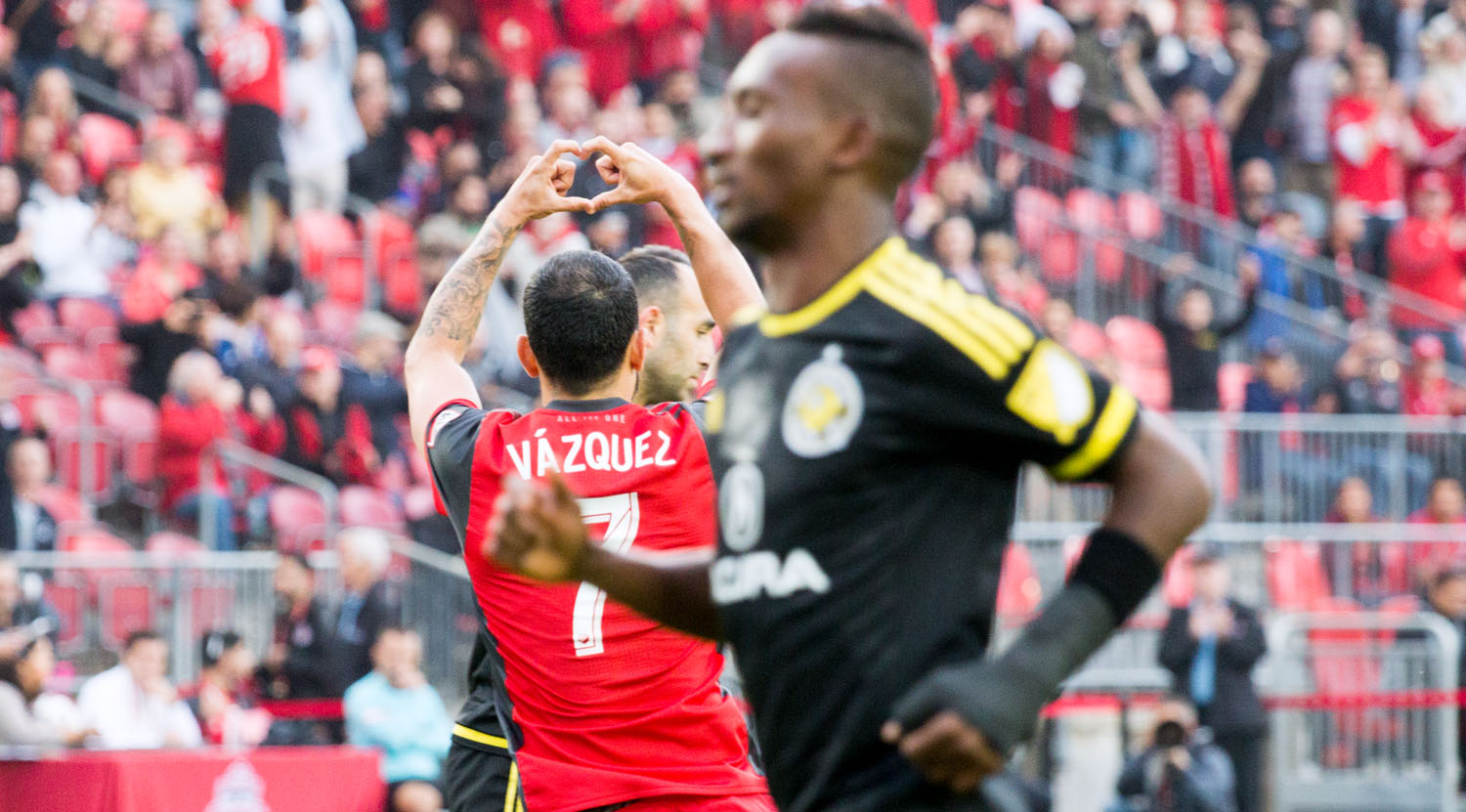 Víctor Vázquez Solsona celebrates with a heart shape after scoring against the Columbus Crew in a beautiful 5-0 win on May 26, 2017. Víctor Vázquez Solsona