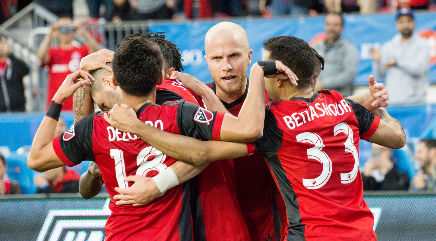Michael Bradley, Marky Delgado and Steven Beitashour celebrating another goal during a Major League Soccer match in May 2017. Image by Dennis Marciniak.