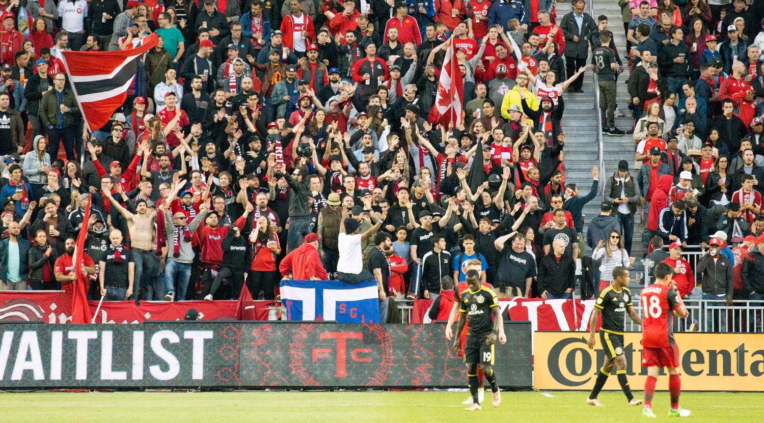 The South End Supporter's section celebrating. Image by Dennis Marciniak of denMAR Media.