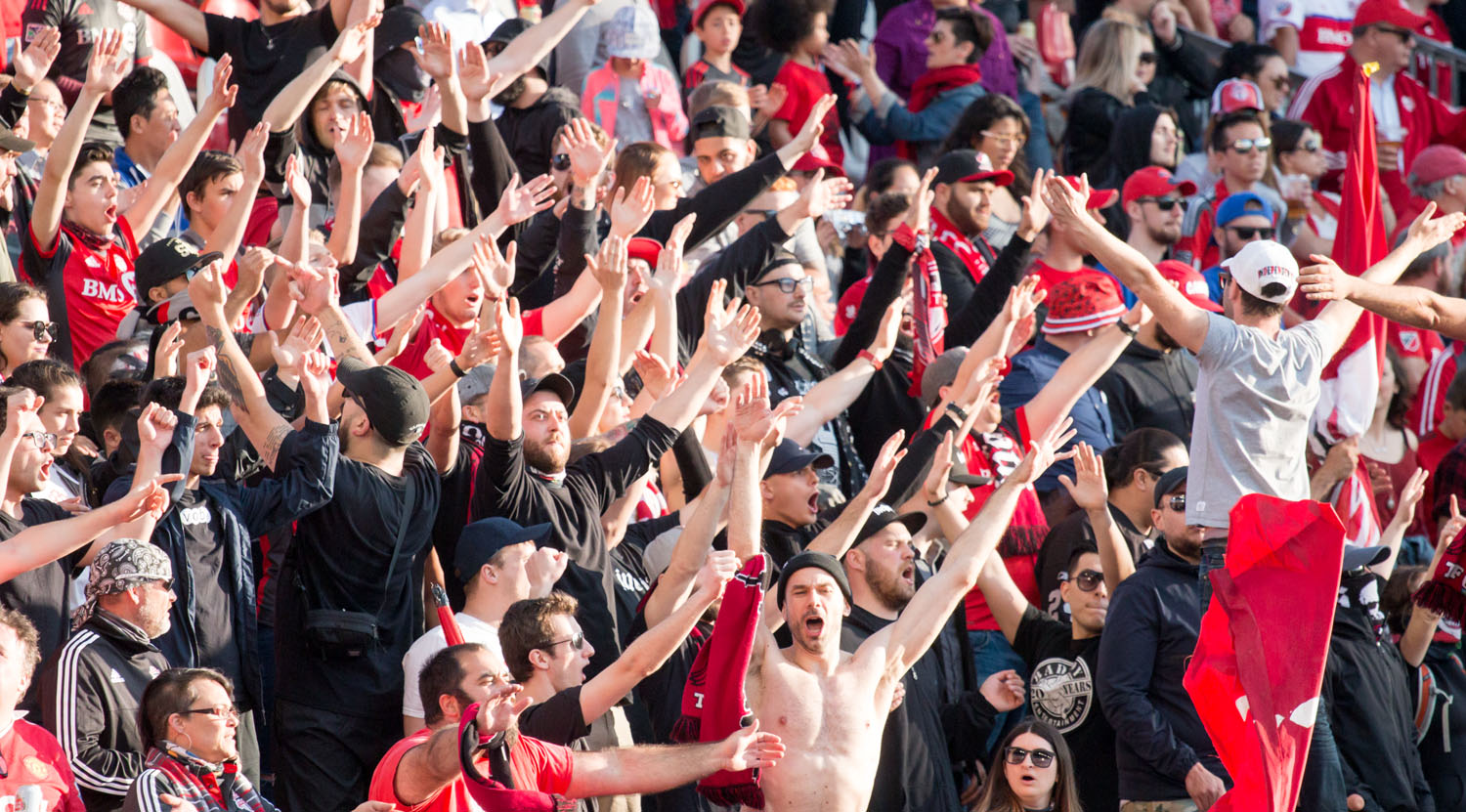 South end Supporter's section killing it with the noise during the 2017 Canadian Championship semi final.Image by Dennis Marciniak of denMAR Media.