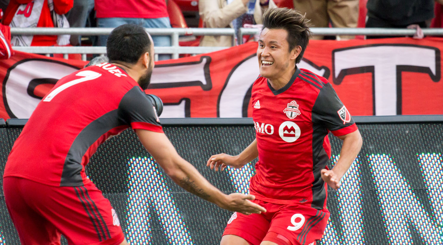 Tsubasa Endoh and Víctor Vázquez celebrating a beautiful goal to take it to 2-0 over the Ottawa Fury during the second leg of the Canadian Championship in 2017.Image by Dennis Marciniak of denMAR Media.