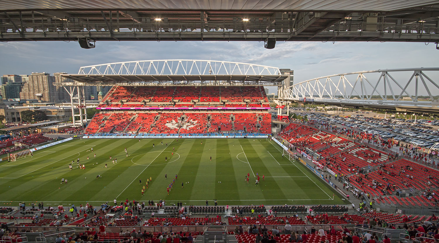 Toronto FC trainning at BMO Field in Toronto, Canada before a 2017 Major League Soccer match. Image by Dennis Marciniak of denMAR Media.