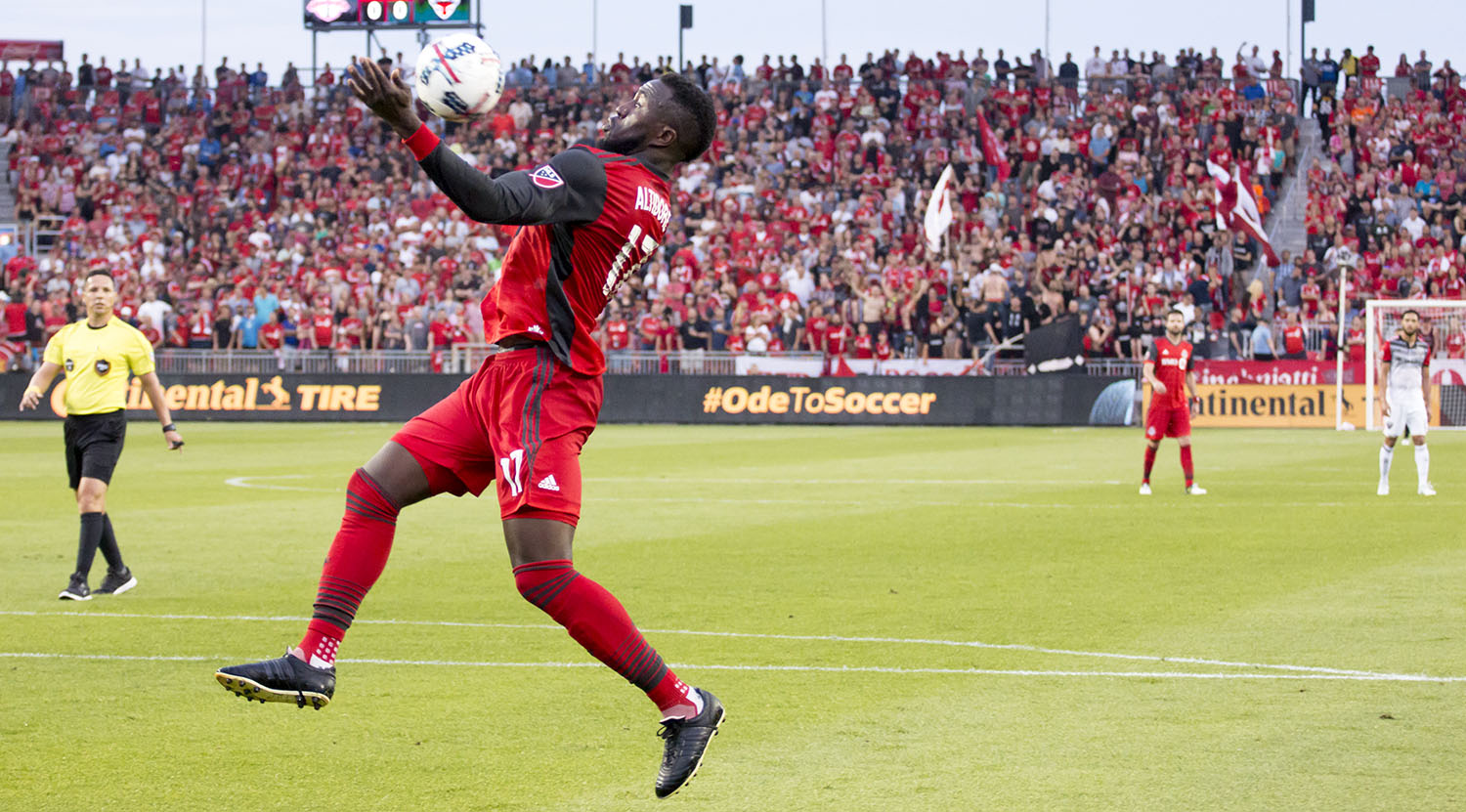 Jozy Altidore tries to trap the ball with his chest and bring it to ground at BMO Field in 2017. Image by Dennis Marciniak of denMAR Media.