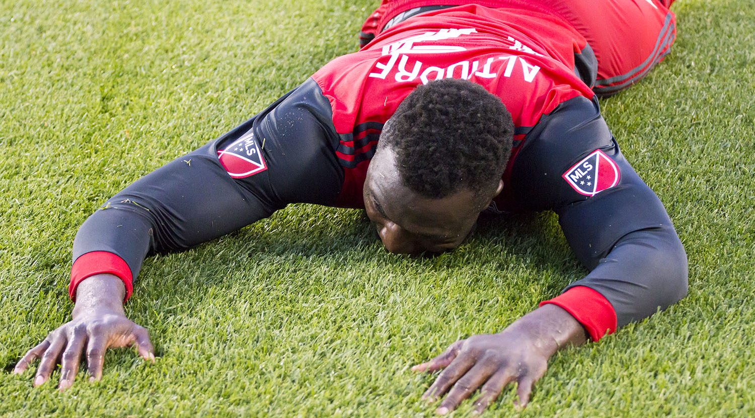 Jozy Alitdore on the ground stunned at a missed attempt. Image by Dennis Marciniak of denMAR Media.