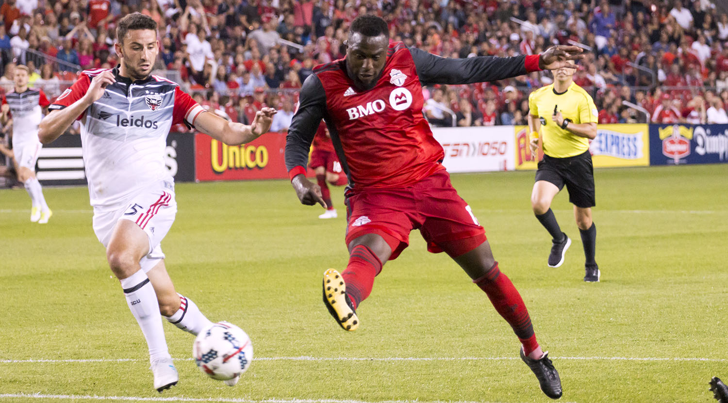 Jozy Altidore strikes the game winning goal into the back of the net on June 17, 2017 against DC United. Image by Dennis Marciniak of denMAR Media.