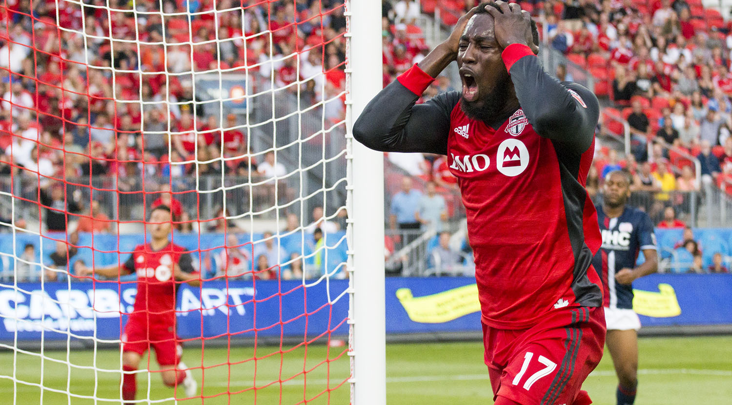 Jozy Altidore screams in frustration over a missed oppourtunity for a goal during a 2017 Major League Soccer match against the New England Revolution in 2017. Image by Dennis Marciniak of denMAR