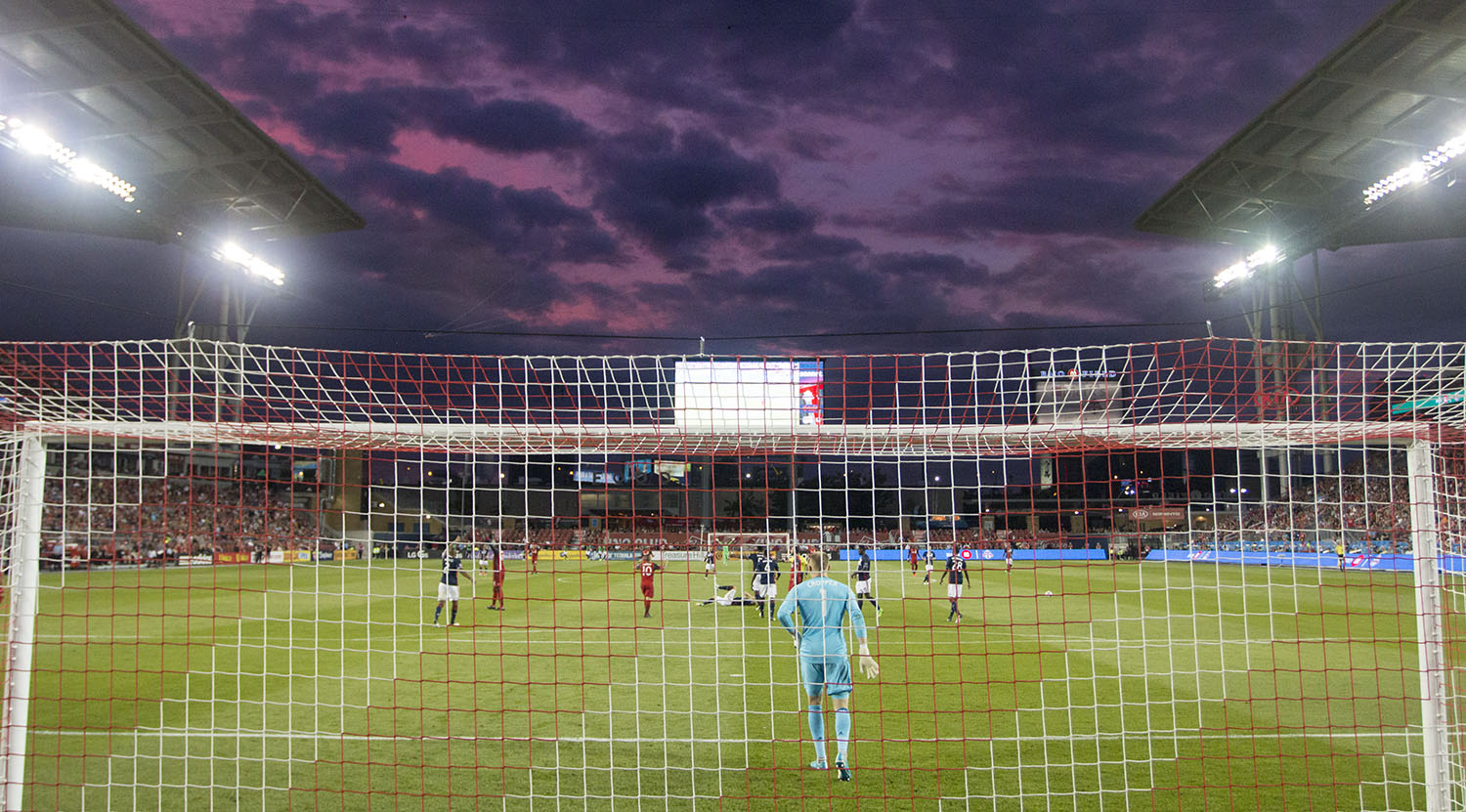 The sunset on a beautiful summer night at BMO Field. Image by Dennis Marciniak of denMAR