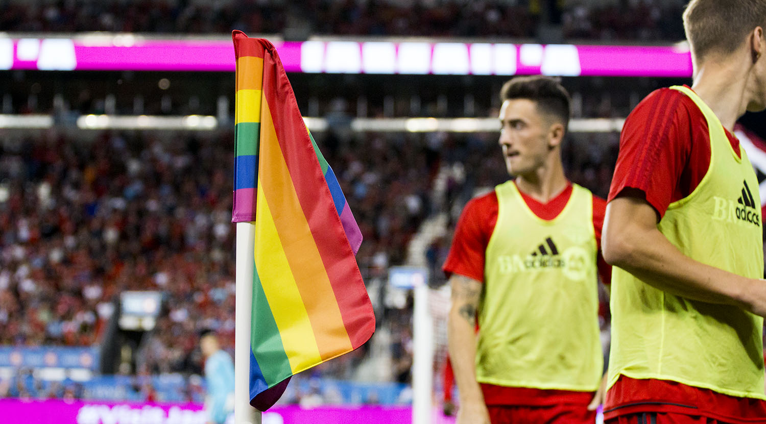Pride night BMO Field saw that the corner flags had the appropriate flags for the occasion ahead of the Pride Parade and festival in Toronto. Image by Dennis Marciniak of denMAR Media.