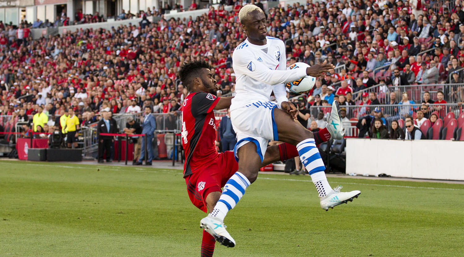 Toronto FC and Montreal Impact clash during a match for the Voyageur's cup in 2017.Image by Dennis Marciniak of denMAR Media.