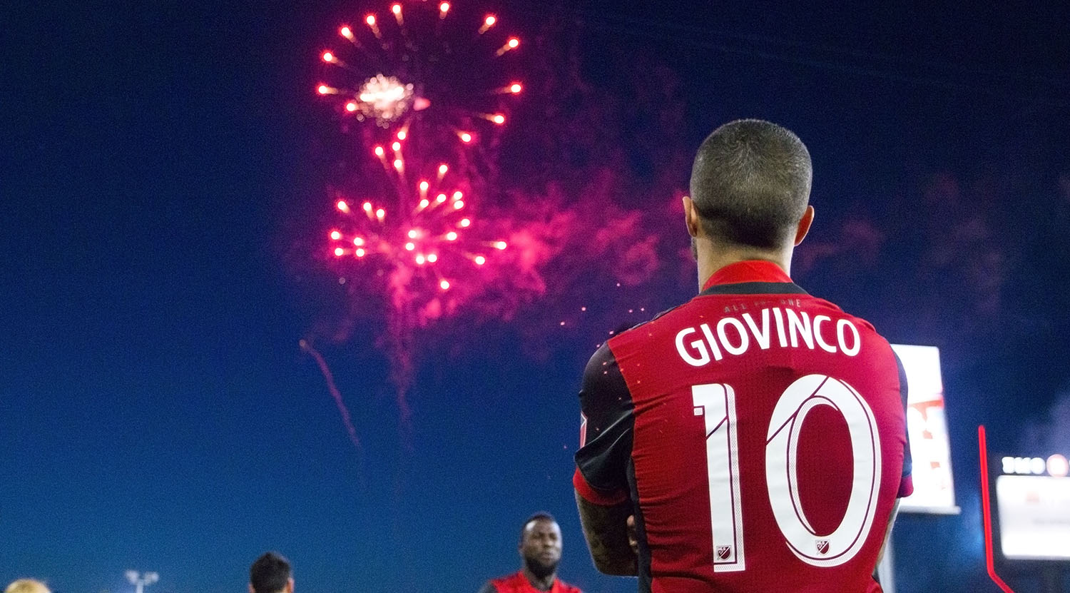 Sebastian Giovinco enjoying the fireworks after winning the Voyageurs Cup in the Canadian Championship against their rival the Montreal Impact.Image by Dennis Marciniak of denMAR Media.