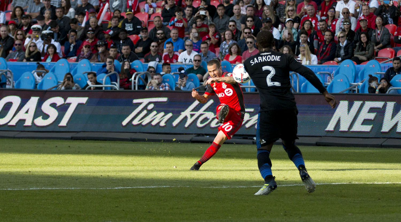Sebastian Giovinco blasts a free kick at the net during a Major League Soccer regular season game in 2017. Image by Dennis Marciniak of denMAR Media.