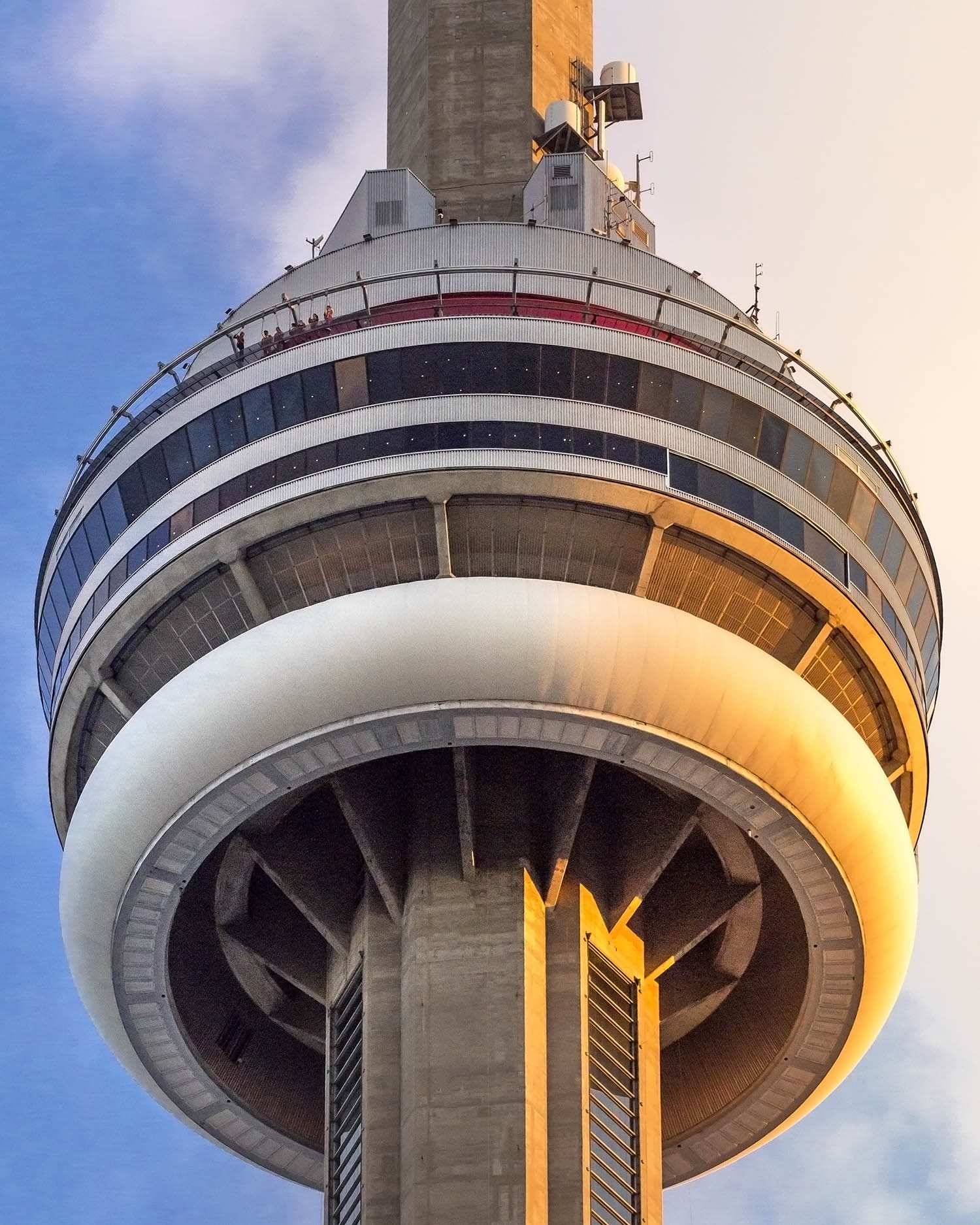 A close up of the CN Tower during a sunset in Toronto, Ontario, Canada shot during the Canada 150 celebrations. Image by Dennis Marciniak of denMAR Media.