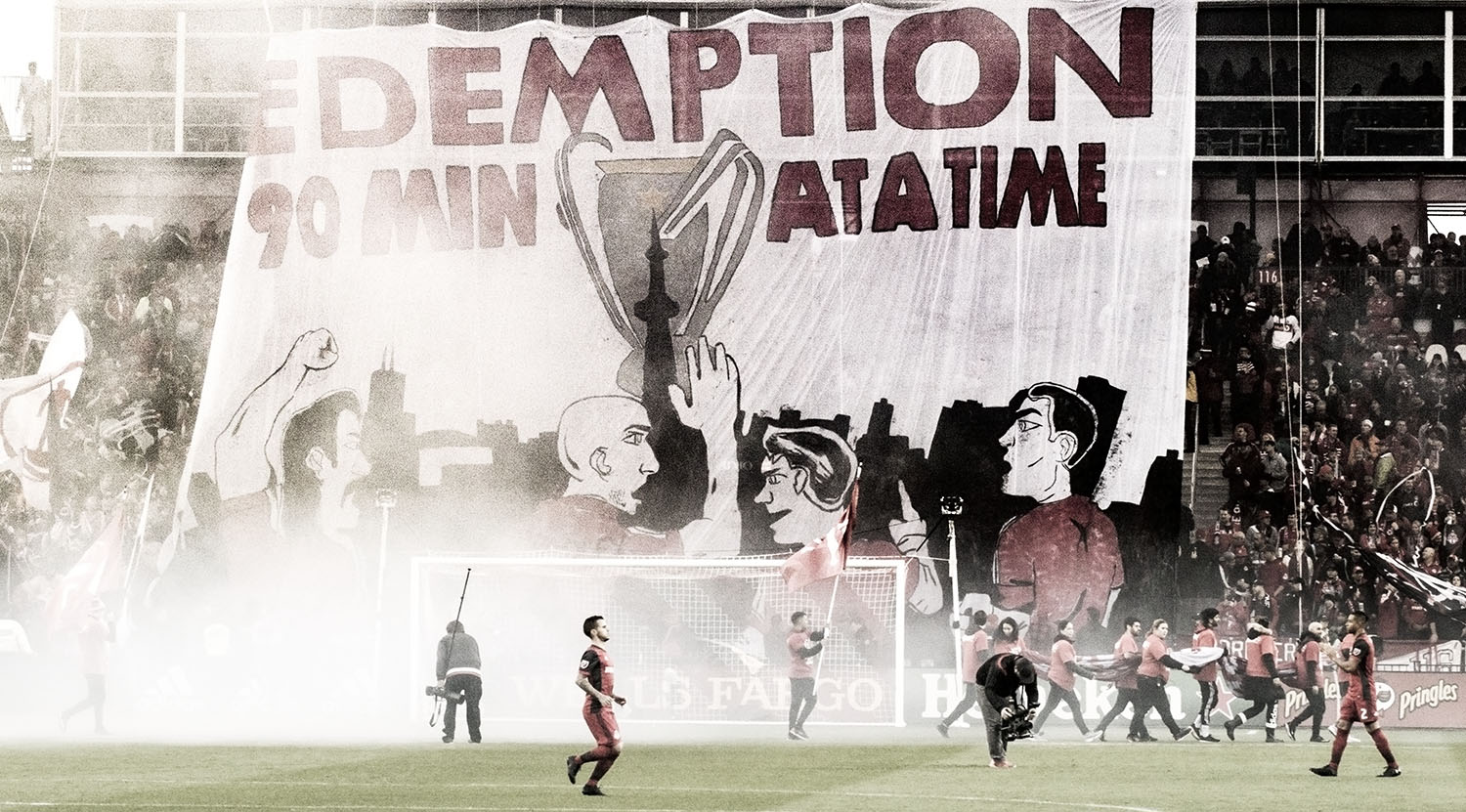 REDEMPTION 90 MIN AT A TIME TIFO made by the South End Supporter's groups ahead of a 2017 playoff match with the New York Red Bulls at BMO Field. Image by Dennis Marciniak of denMAR Media.