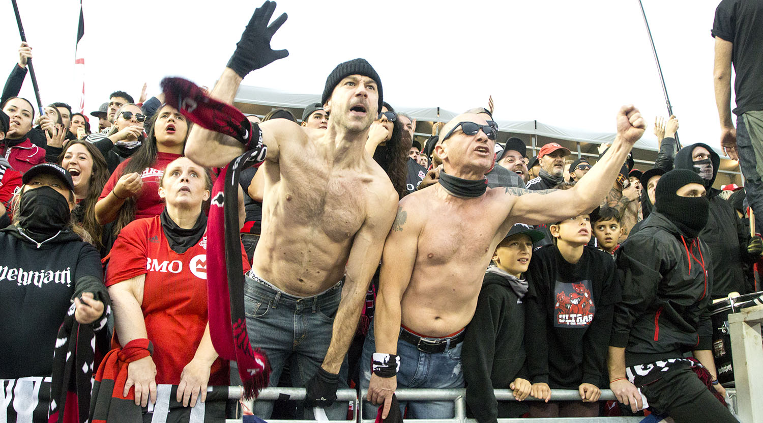South end supporter's going crazy over Chris Penso's calls during the first half of MLS playoff action at BMO Field in 2017. Image by Dennis Marciniak of denMAR Media.