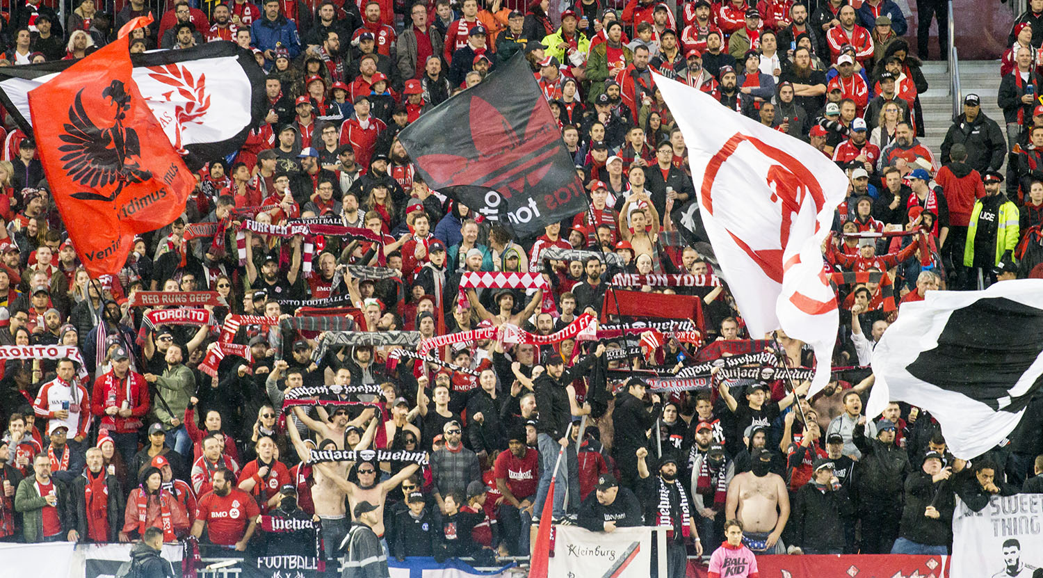 The South End Supporter's section supporting the club for the full 90 minutes during a playoff match with NYRB in 2017. Image by Dennis Marciniak of denMAR Media.