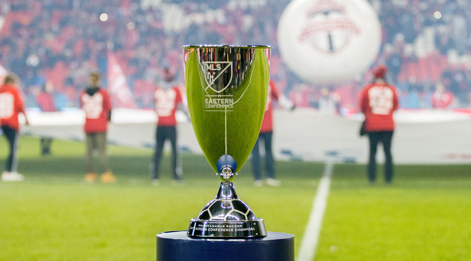 The Major League Soccer Eastern Conference Trophy was up for grabs at BMO Field between Toronto FC and the Columbus Crew in 2017.Image by Dennis Marciniak of denMAR Media.