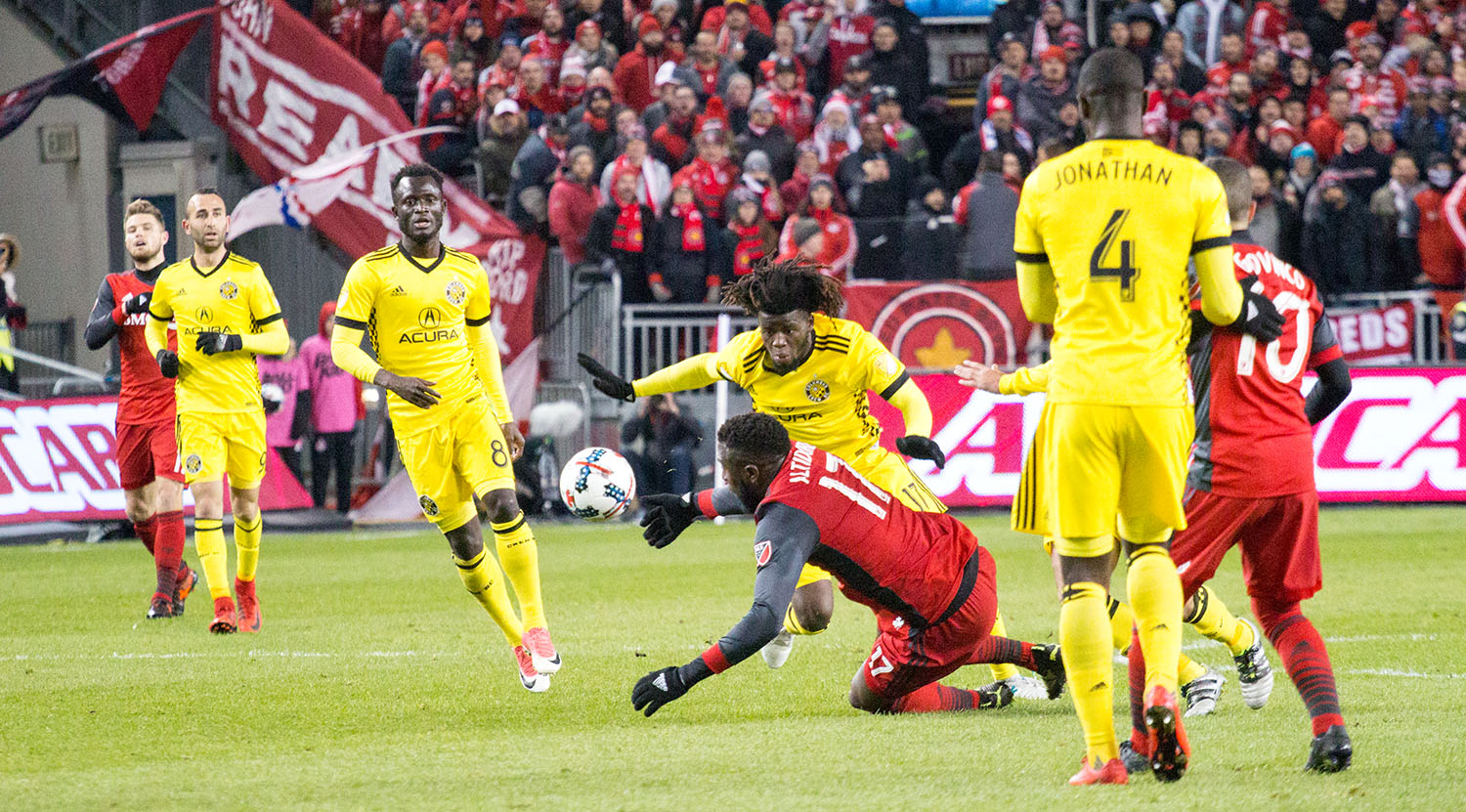 Jozy Altidore is taken down to the ground during the first half of play.Image by Dennis Marciniak of denMAR Media.