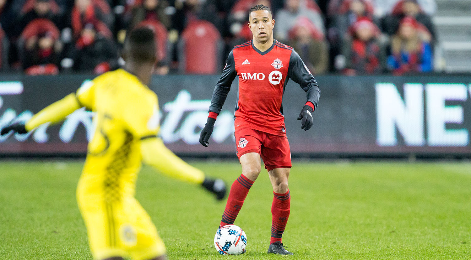 Justin Morrow on the ball as a Columbus Crew player anticipates which direction he will go.Image by Dennis Marciniak of denMAR Media.