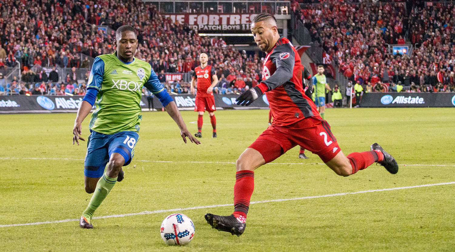 TFC's Justin Morrow breaks into the 18 yard box during the 2017 MLS Cup Playoffs.Image by Dennis Marciniak of denMAR Media.