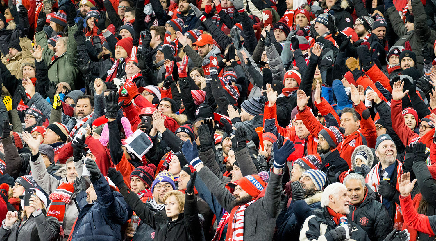 Fans in the east stands doing the thunder clap during the 2017 MLS Cup final.Image by Dennis Marciniak of denMAR Media.