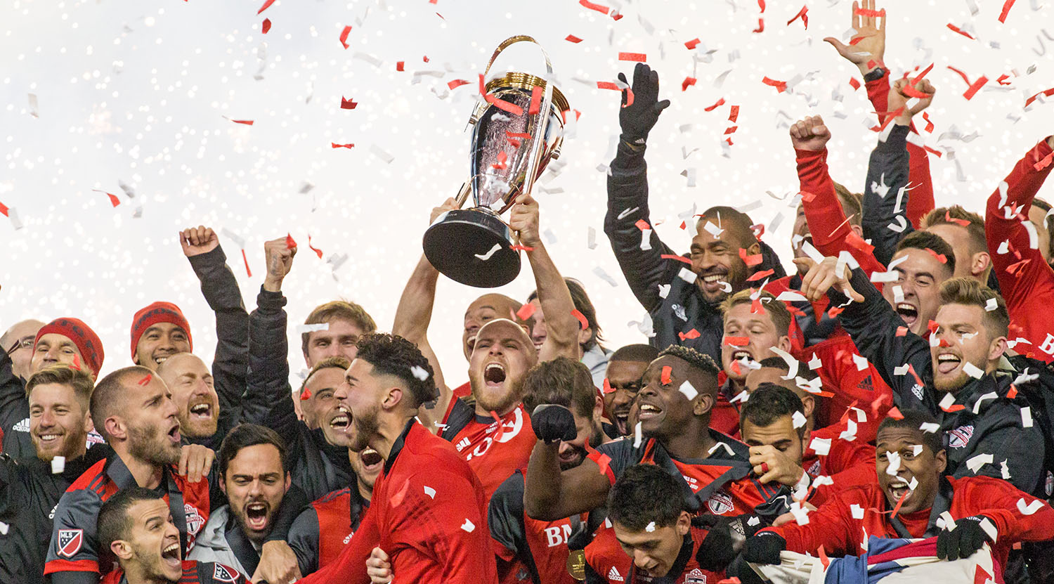 Confetti and smoke fills the stadium as Michael Bradley celebrates with Toronto FC to take home the 2017 MLS Cup.Image by Dennis Marciniak of denMAR Media.