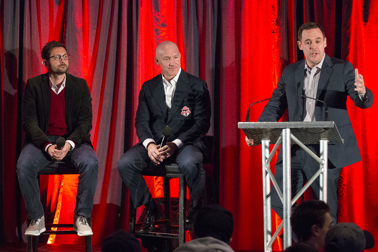 Tim Bezbatchenko, Bill Manning and Luke Wileman talk to season season holders at the Real Sports Bar and Grill in downtown Toronto, Canada. Image by Dennis Marciniak of denMAR Media.