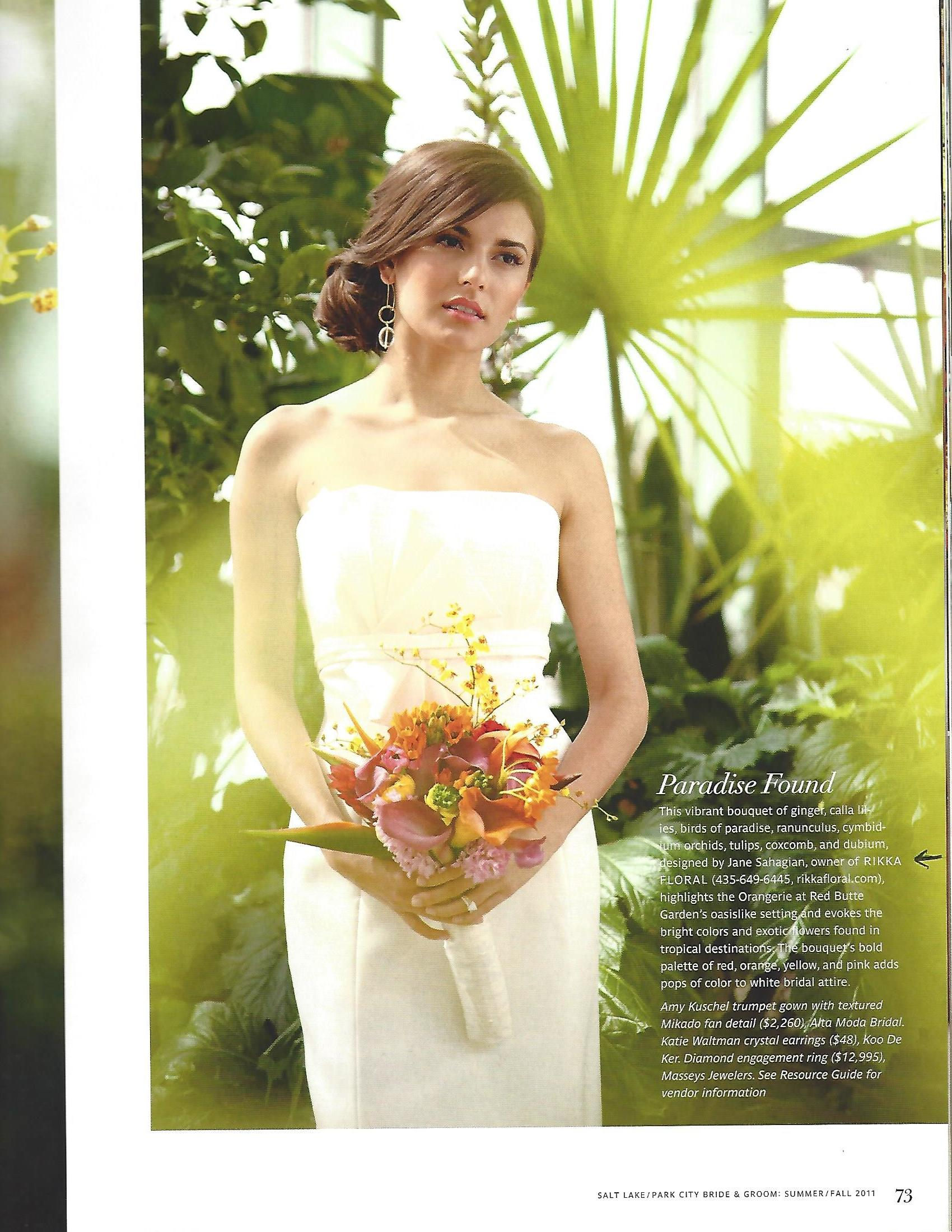 Rikka's Bridal Bouquet in centerfold in inaugural edition of Salt Lake - Park City Bride & Groom (Summer Fall 2011)_Page_2.jpg