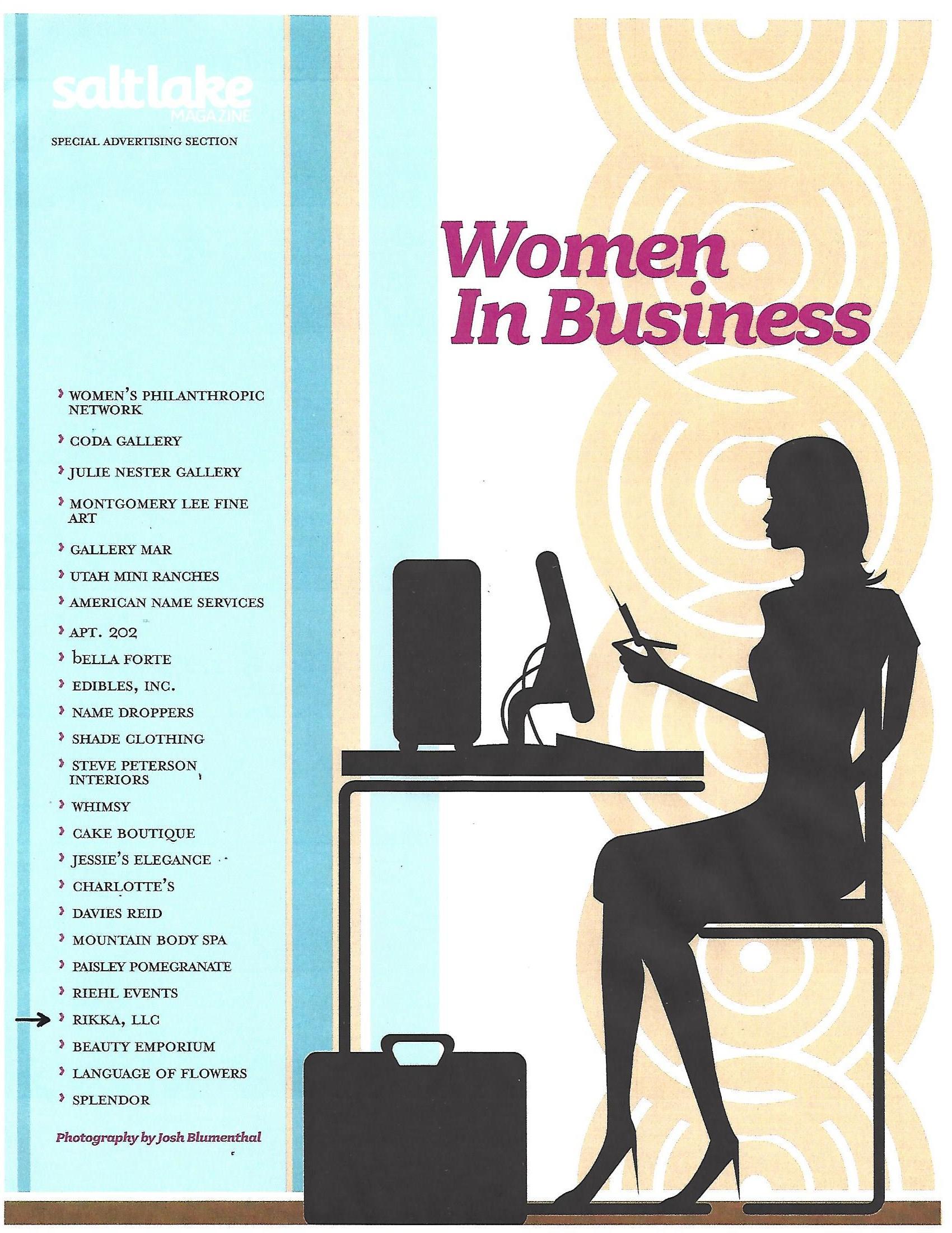 Women in Business (Salt Lake Magazine Oct. 2008) - Article on Rikka, LLC_Page_1.jpg