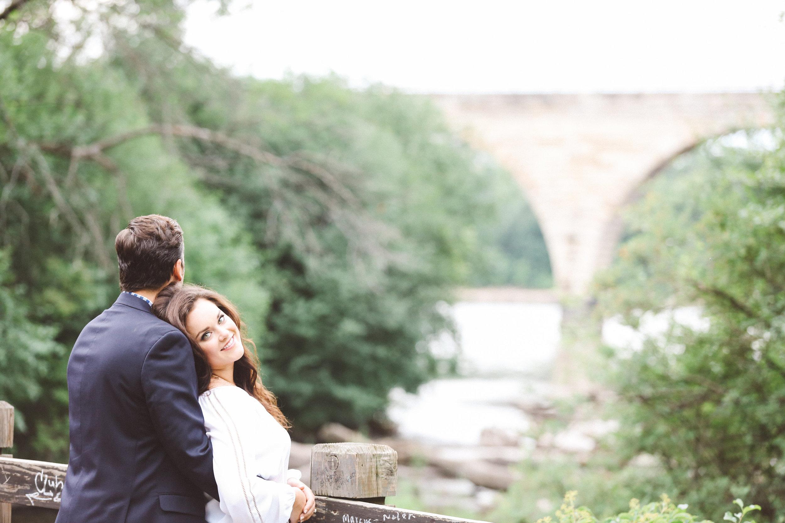 Stone Arch Bridge Engagement Photo