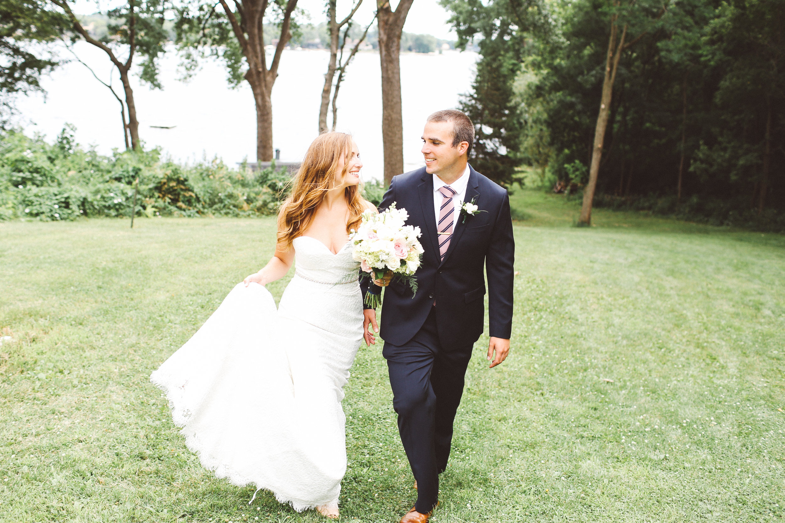 Minneapolis Bride and Groom Running