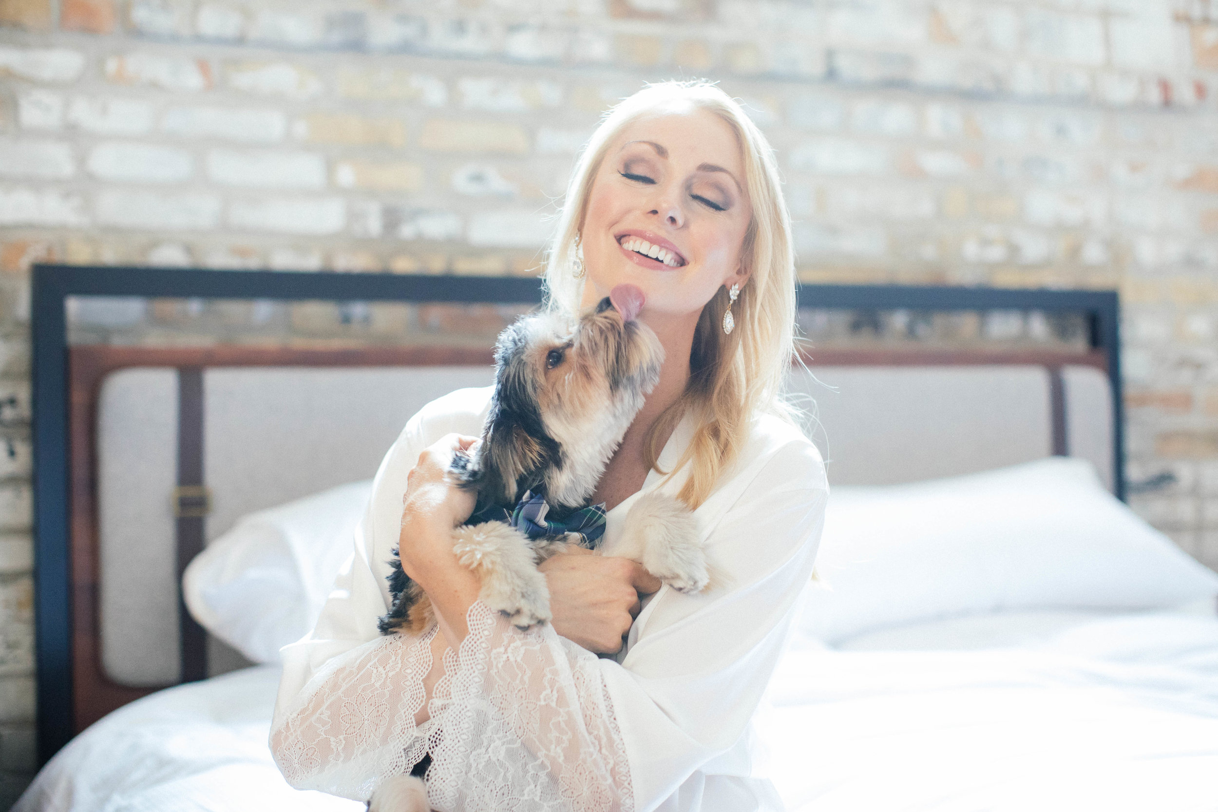 Hewing Hotel Wedding Photography Bride with puppy Getting Ready