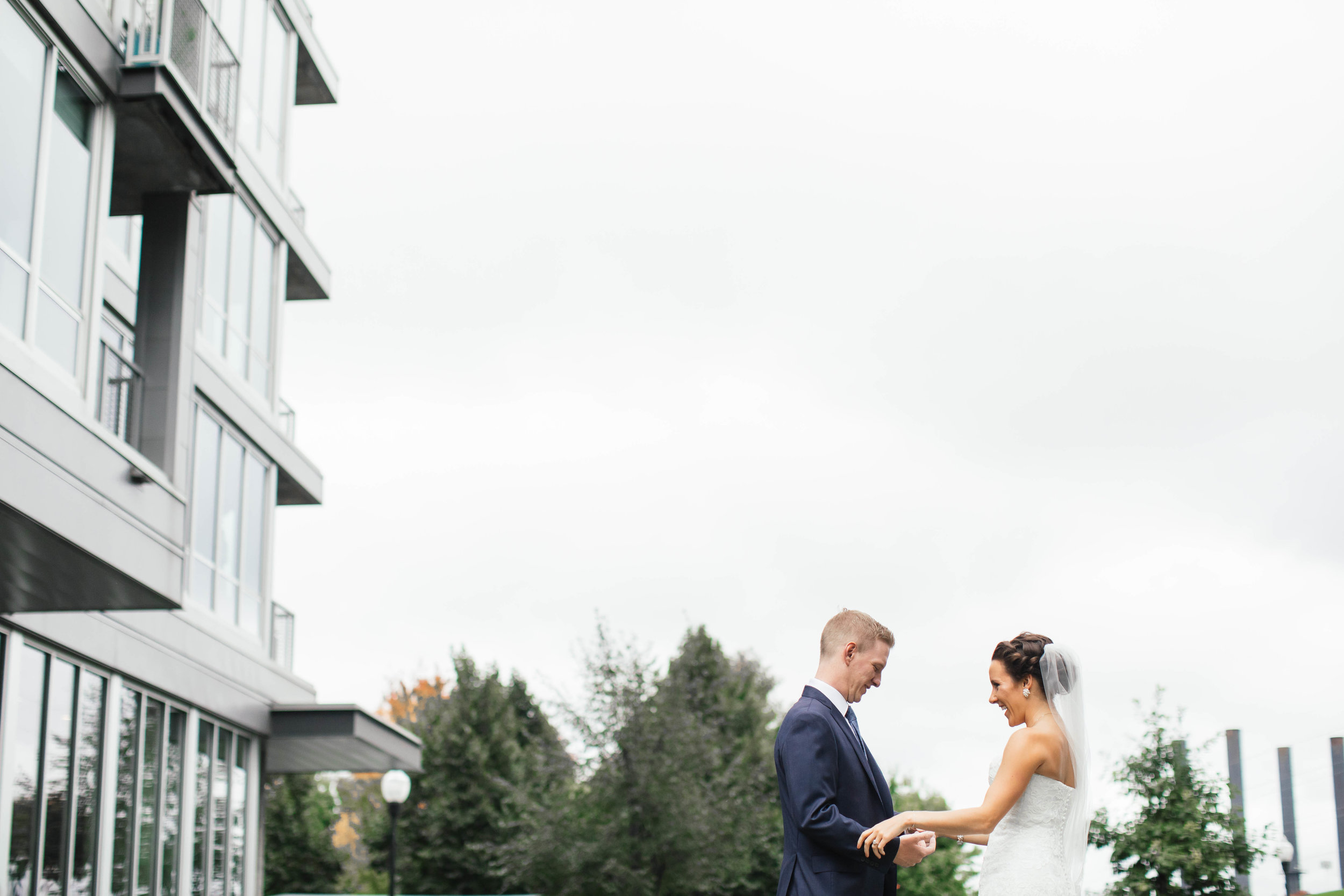 Mill city ruins wedding photography first look with bride and groom