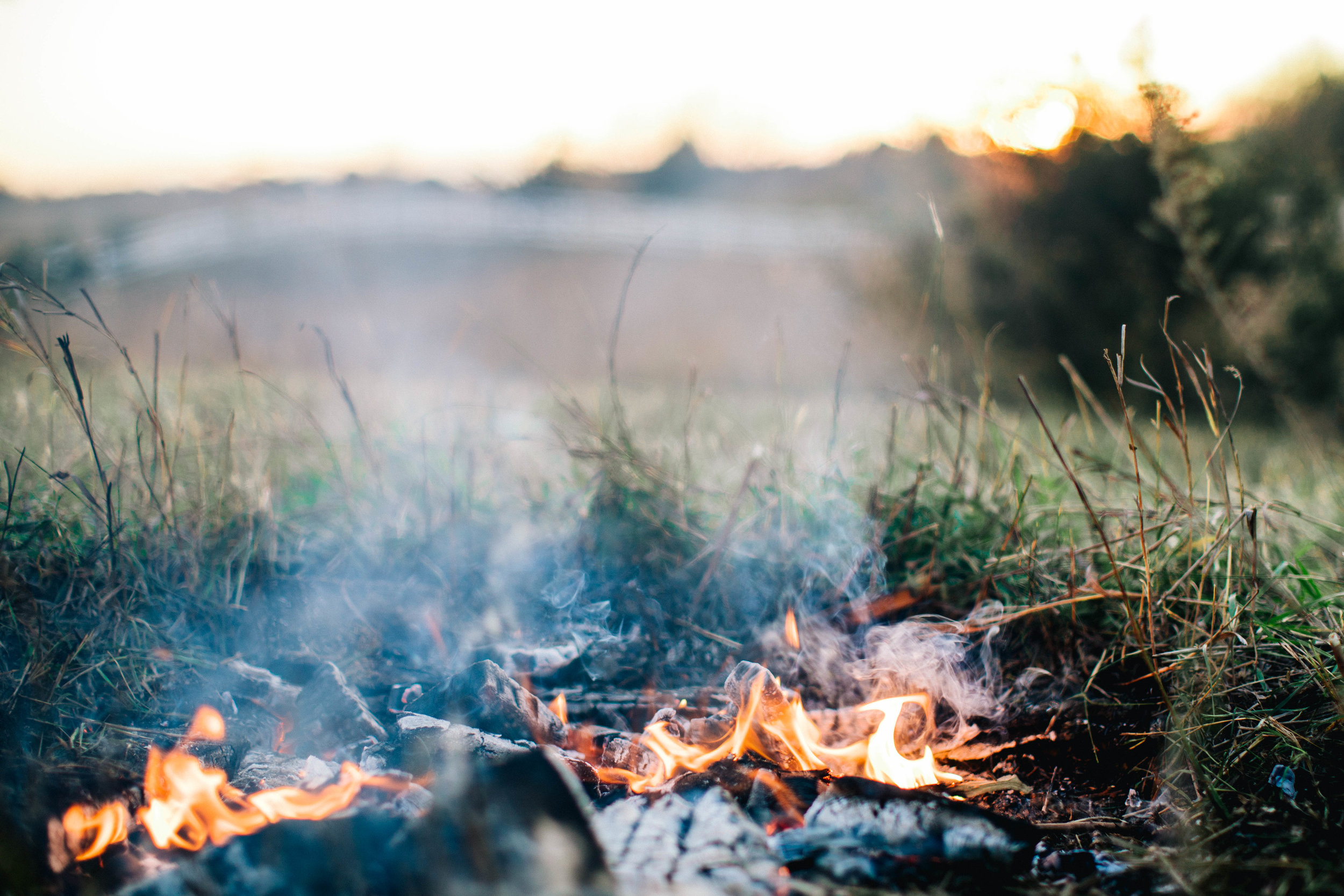 Minnesota autumn campfire