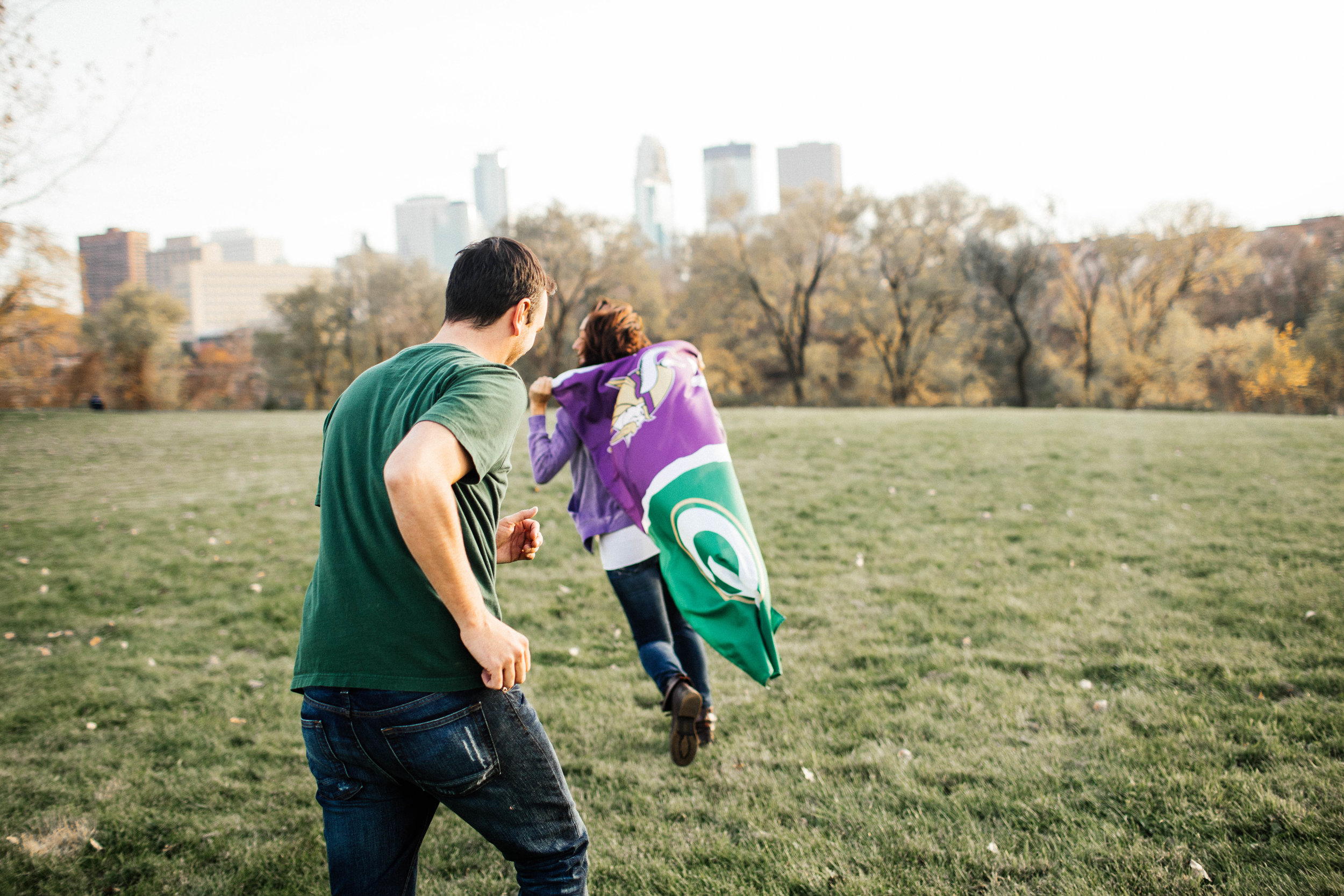 Vikings Engagement Shoot with a packers fan