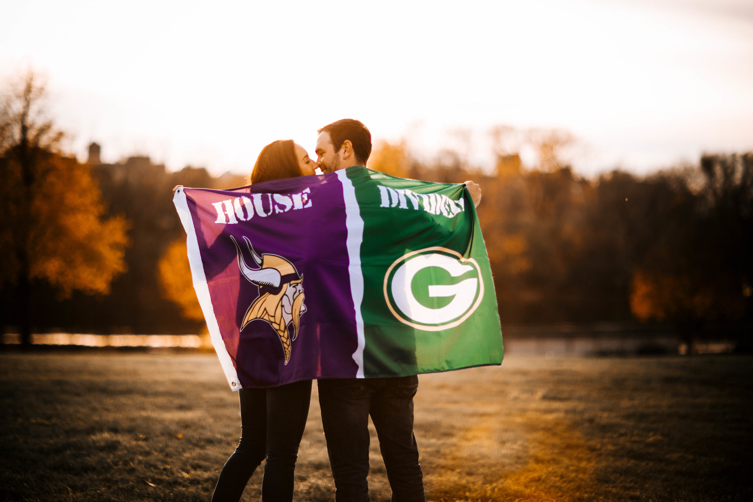 Teams Divided Vikings and Packers engagement photography