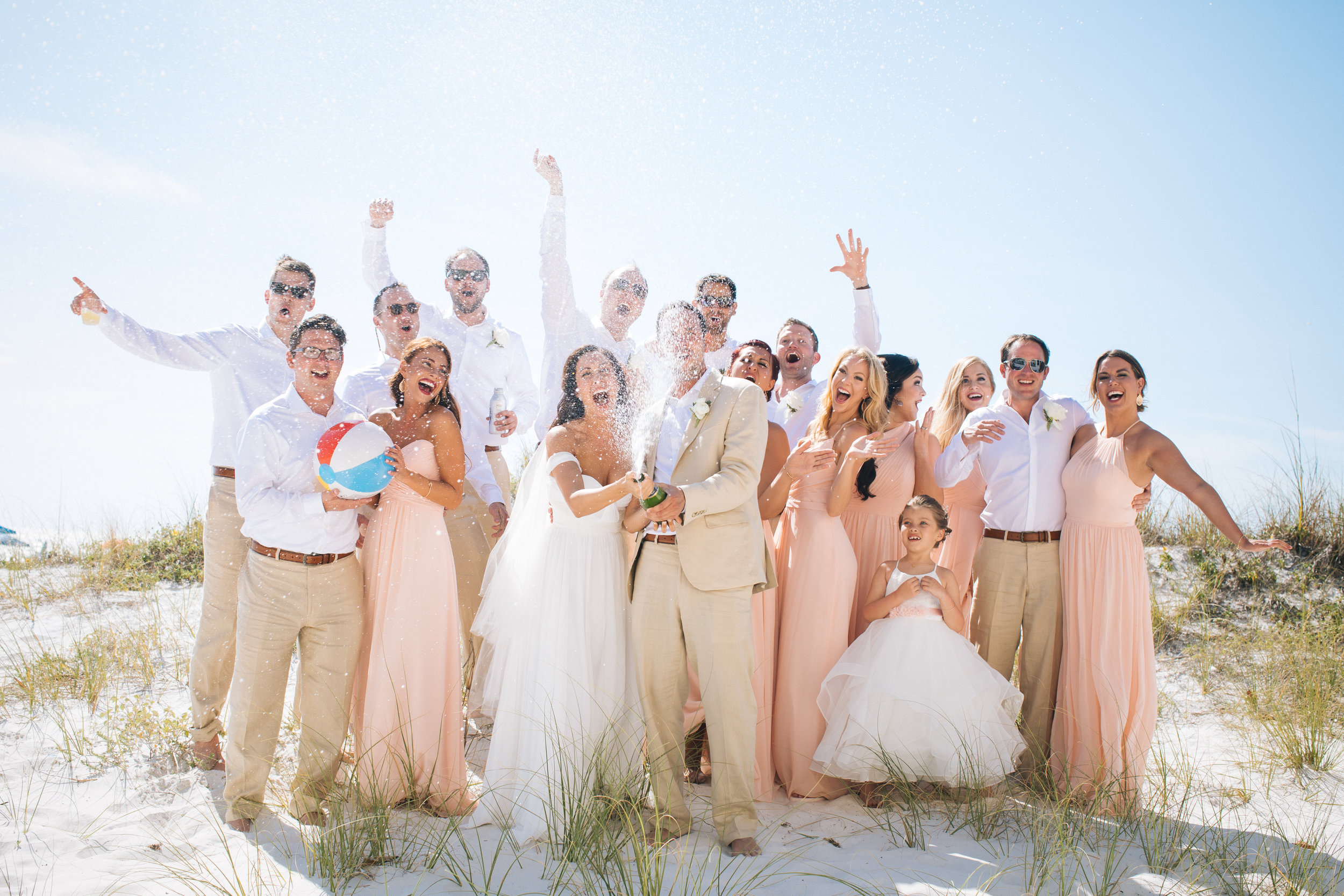 Champagne Spray Wedding Photo Destination Photographer