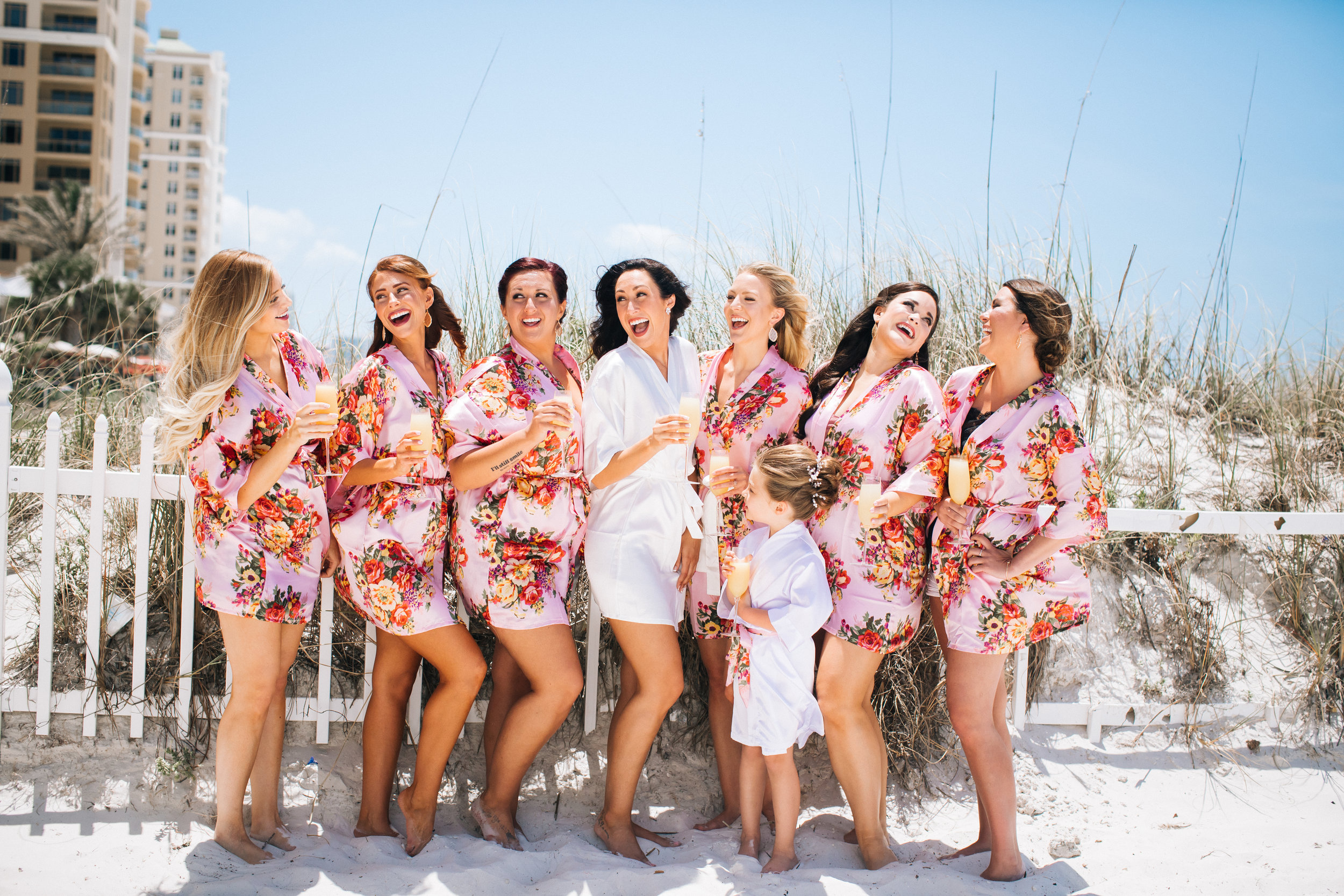 Floral Robes Bridesmaids Destination Wedding Photos