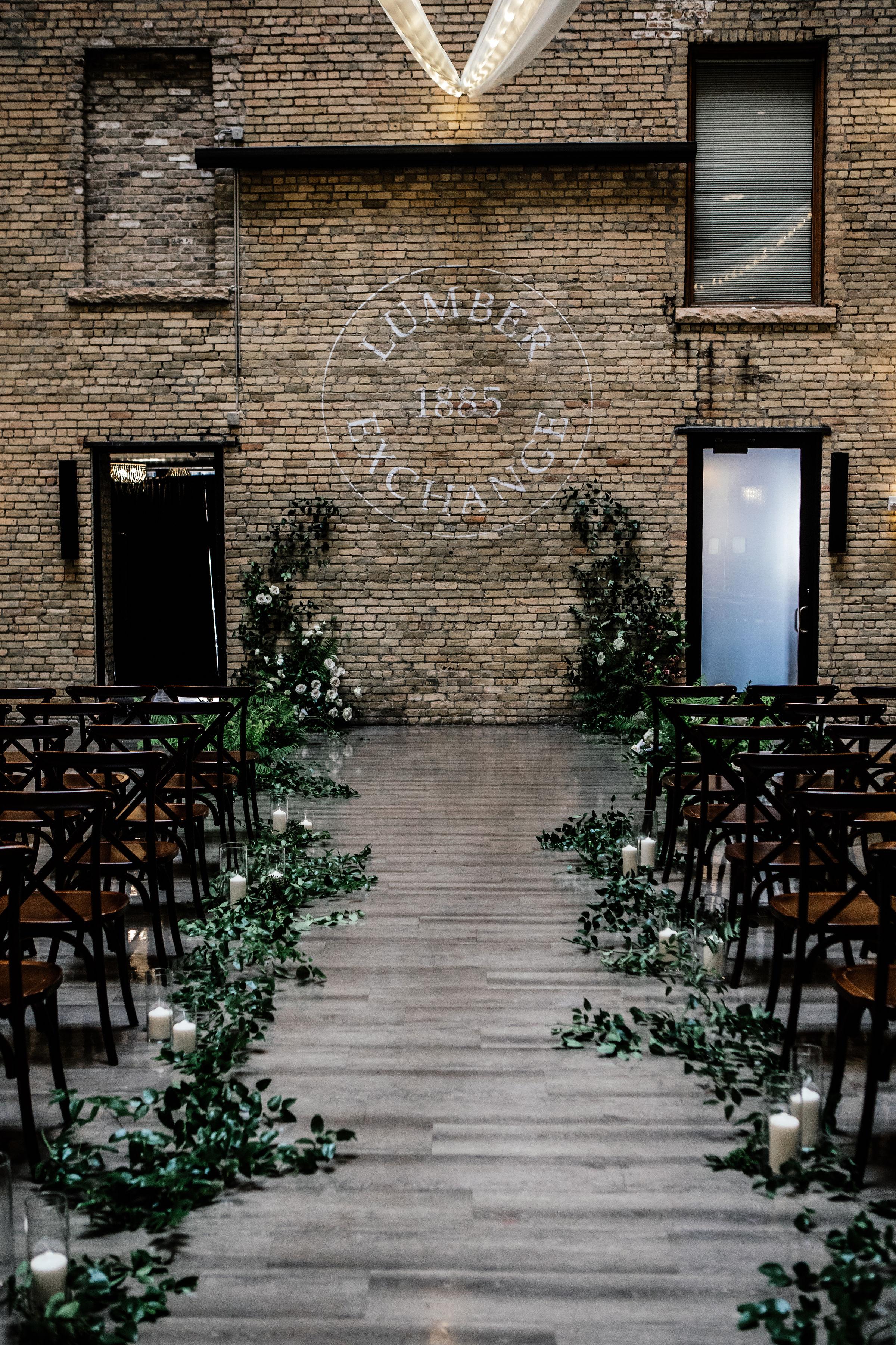 Lumber Exchange Wedding ceremony photos