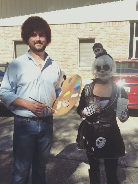 October 31 - Josh (aka Bob Ross) took first prize in the Halloween costume contest.
