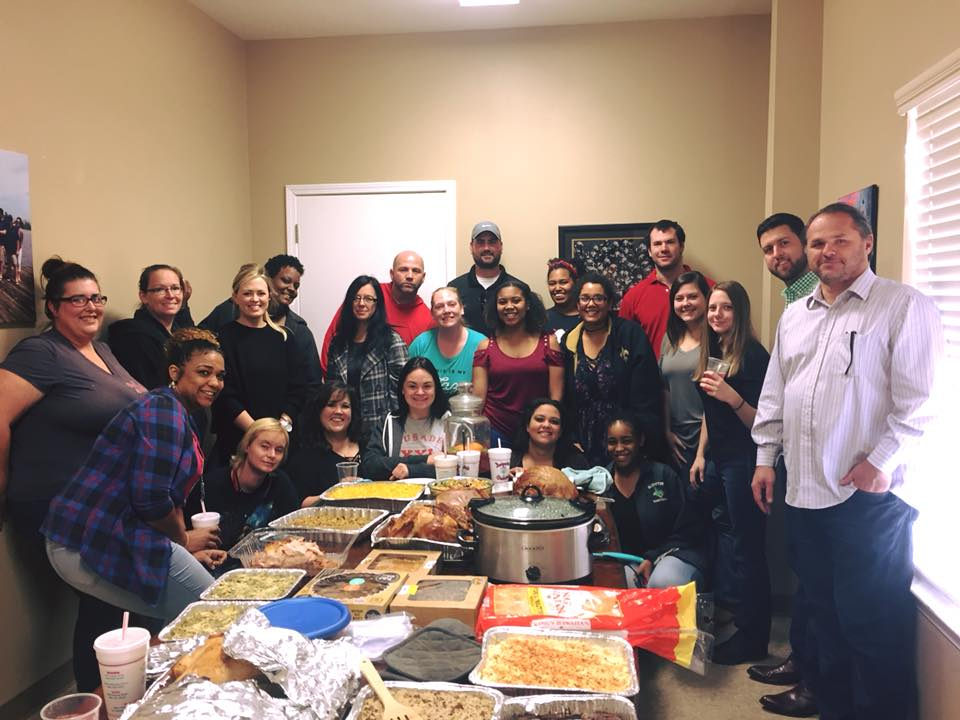 November 22 - Thanksgiving dinner potluck style with the crew.