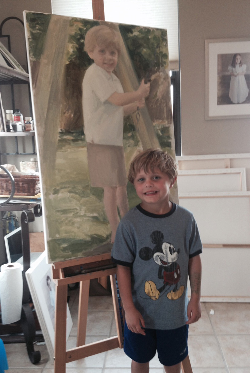 hand painted portraits of children