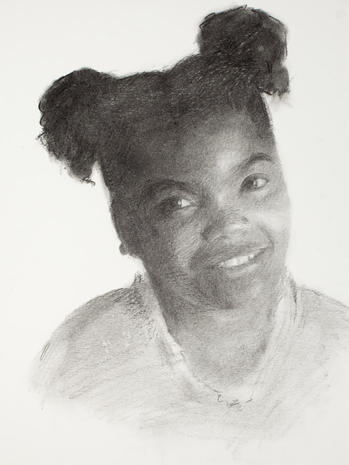 Charcoal drawing of child