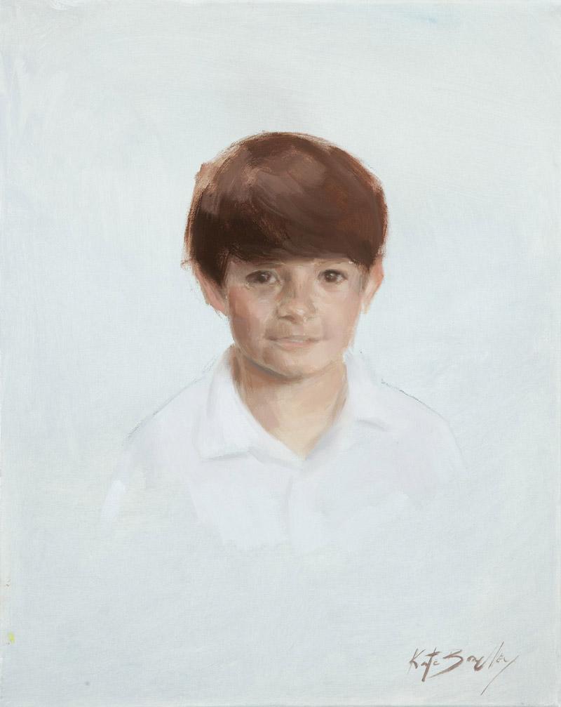 "Eli Ozier, age 9, Oil on canvas, 16"" x 20"""