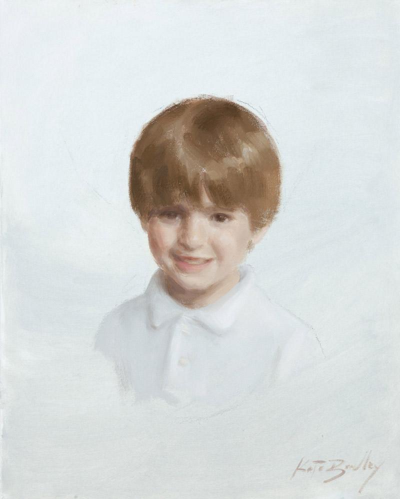 "Amos Ozier, age 7, Oil on canvas, 16"" x 20"""