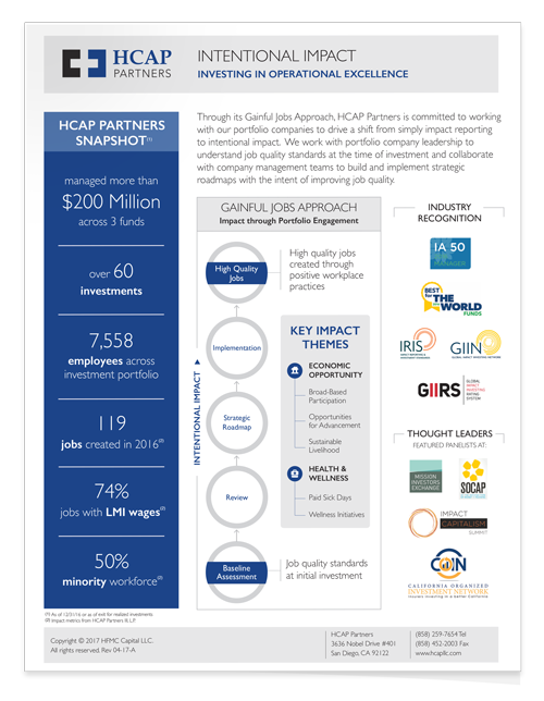 HCAP Partners' Impact Investing Snapshot (PDF)