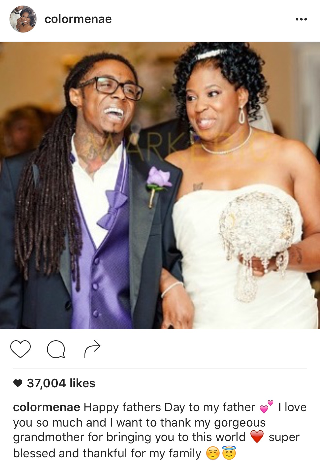 Reginae  Carter express Happy father's Day to dad Lil Wayne