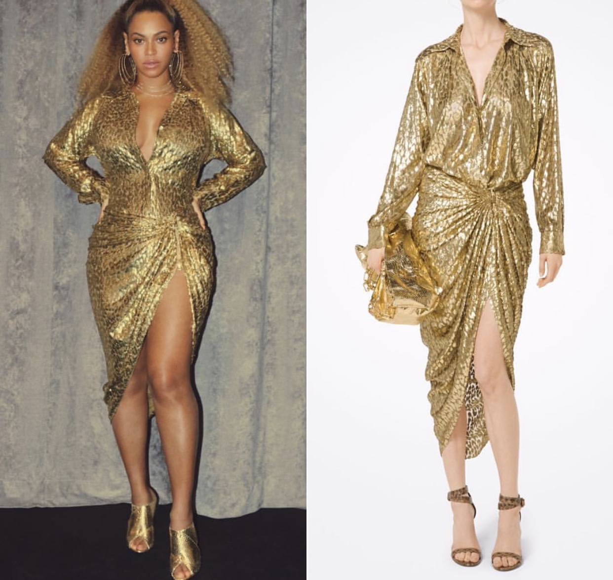 Beyonce is  wearing  @michaelkors  Cheetah Metallic Blouse ($1,197) & Sarong Skirt ($1,147)