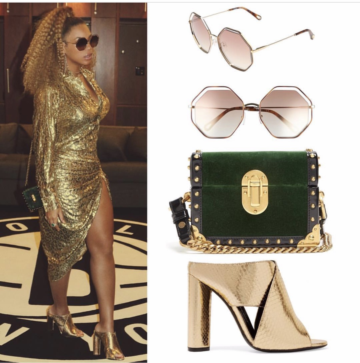 🔹 #Chloe  Octagonal Halo Sunglasses ($396) 🔹 #Prada  Treasure Trunk Mini Box Bag ($2,960) 🔹 #TomFord  Metallic Ayers Mules ($645) Photo credit and details from: Instagram/beyonce.fashion