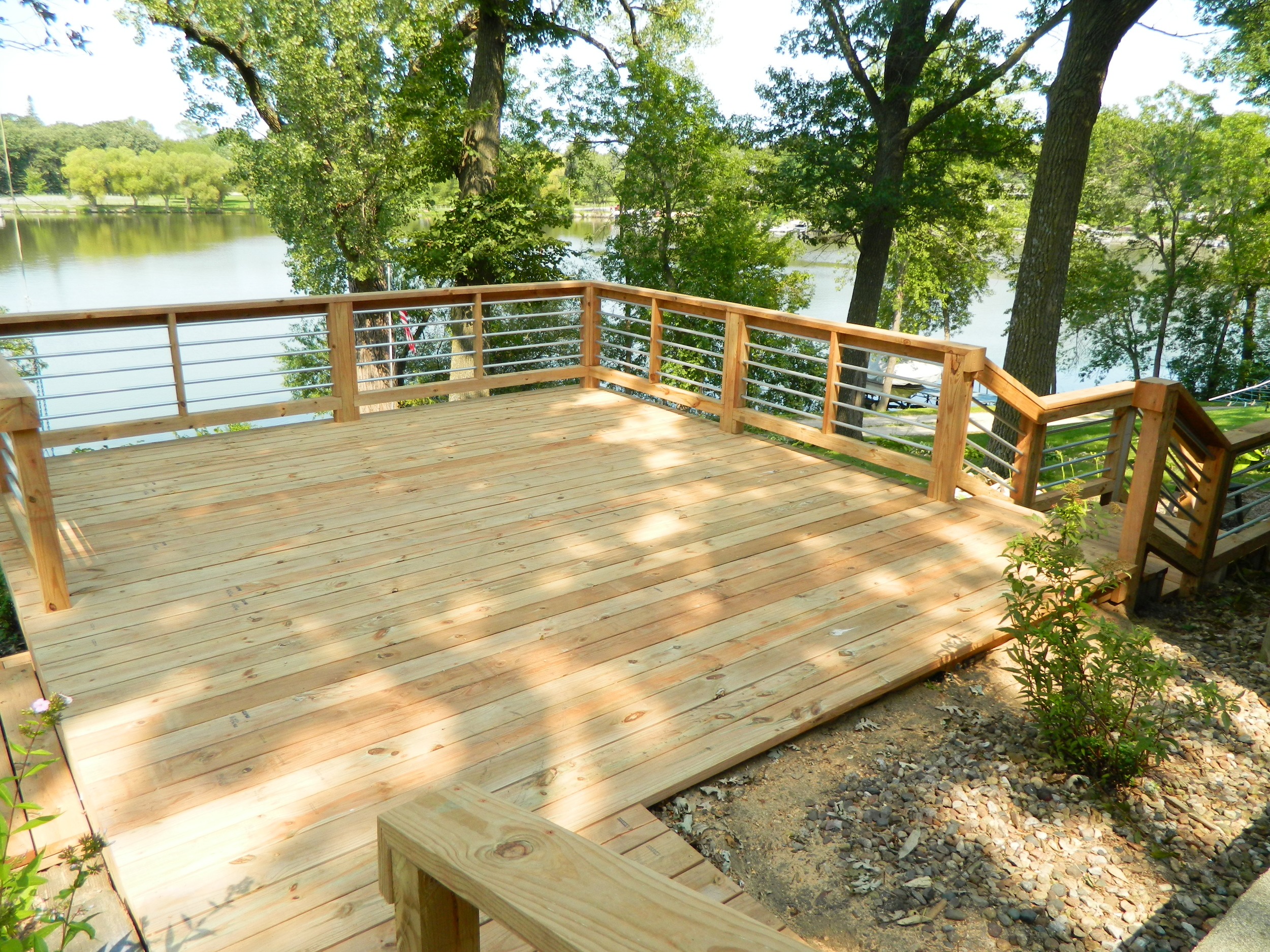 Deck with Conduit Railing