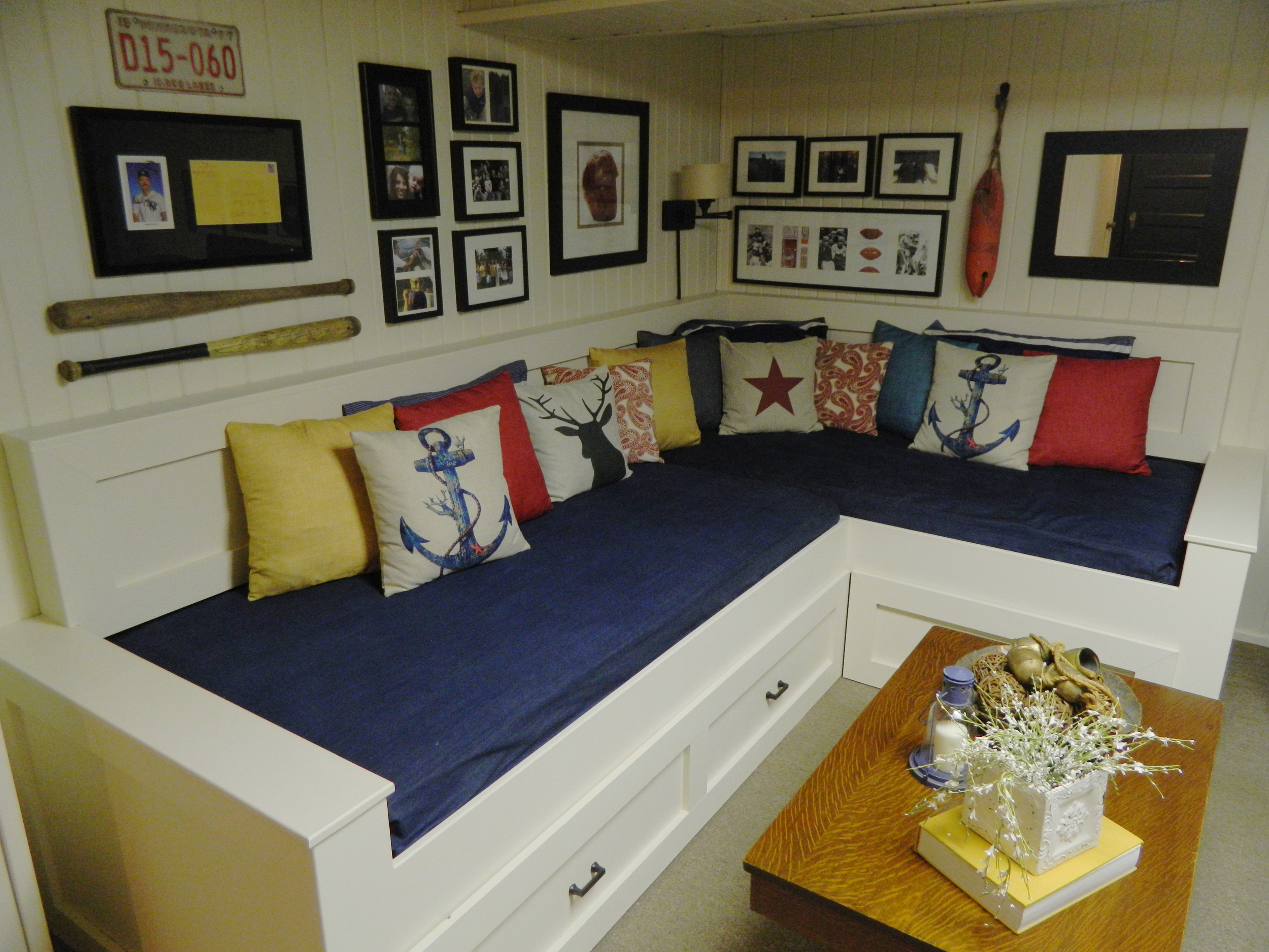 Custom Built Sectional with Trundle Bed